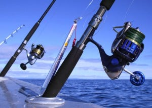 saltwater spinning reels out on ocean