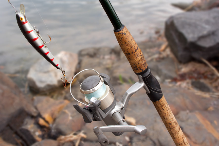 Fishing Reels and Rods on Boat Close Up